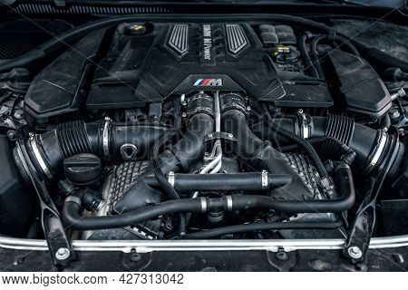 Ukraine, Odessa - July 8, 2021: Bmw M5, Close-up Of The Engine Of The Modern Car, Front View. Intern