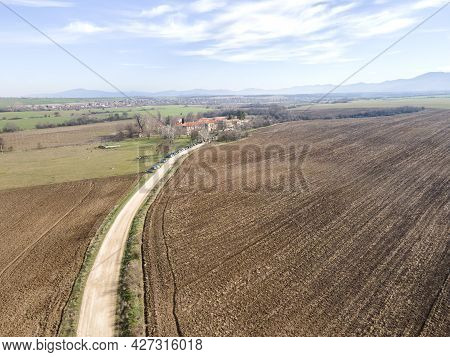 Aerial Sunset View Of Upper Thracian Plain Near Town Of Asenovgrad, Plovdiv Region, Bulgaria