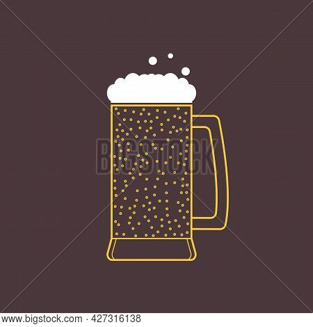 Glass Mug With Beer With Foam And Bubbles. Fizzy Cold Beer. Transparent Flat Icon. Vector Isolated I