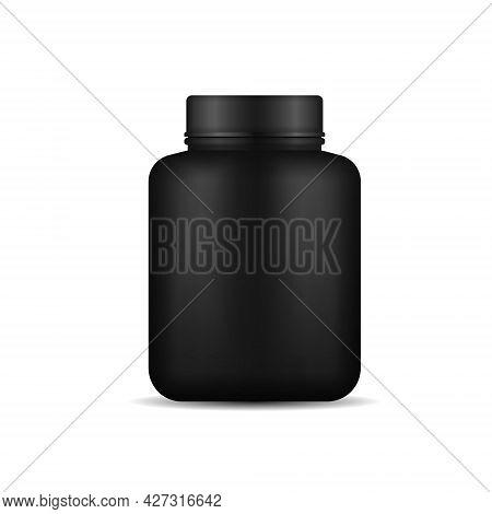 Whey Protein In Black Plastic Jar, Bottle.