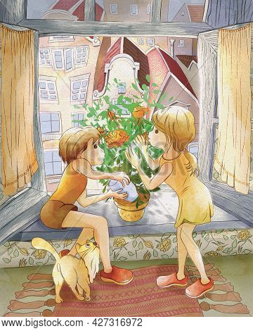 Children's Cartoon Illustration. Fairy Tale Snow Queen. Girl Gerda And Her Brother Kai Take Care Of