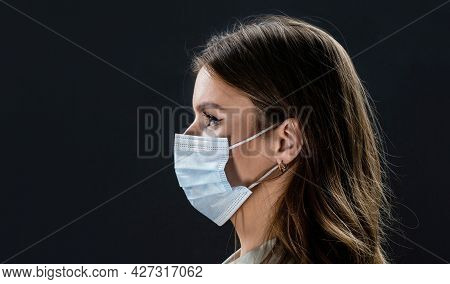 Face Of People In Protective Masks From Coronavirus. Wearing A Protective Face Mask, Pandemic. Lifes