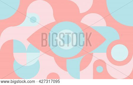 Funky Background In Bauhaus Style With Eye, Curves And Circles, Retro Poster With Geometric Shapes I