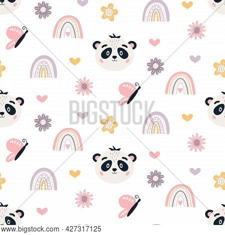 Panda Seamless Pattern Cute Baby Bear Vector Background