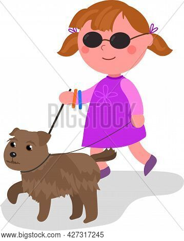 Blind Child Walking With Her Guide-dog, Cartoon Vector Illustration Isolated On White.