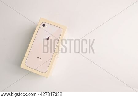 Klang, Malaysia: July 20, 2021- Brand New Gold Apple Iphone 8. Iphone Is The Most Popular Smartphone