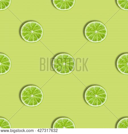 Seamless Pattern With Lime On A Green Background. Lime Slices Seamless Texture For The Design. Summe