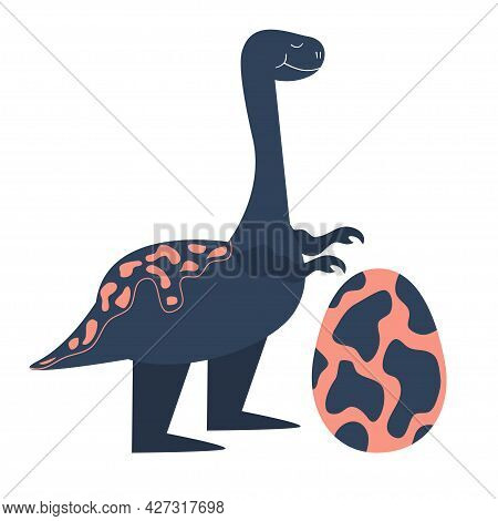 A Dinosaur With An Egg Is Isolated On White Background. Dino In Cartoon Flat Style. Single Vector Il