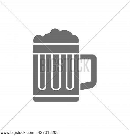 Mug Of Beer, Pint Glass Grey Icon.