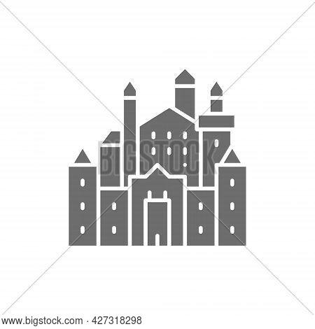 Neuschwanstein Castle, Landmark Of Hohenschwangau, Germany Grey Icon.