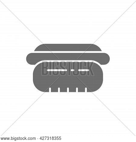 Hot Dog, Bavarian Sausage, Fast Food Grey Icon.