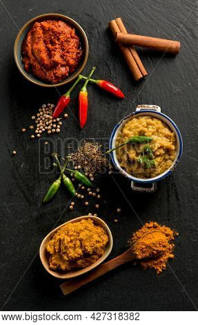 mixed curry with ingredients and spices
