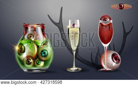 Jar With Eyes. Cocktail Of Blood With An Eye. Vector Illustration Happy Halloween Set. Can Be Used F