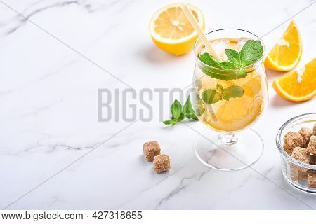 Traditional Iced Tea With Lemon And Ice In Tall Glasses On Marble Table Background Iced Tea With Lem