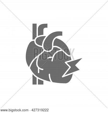 Vector Heart Attack, Myocardial Infarction Grey Icon.