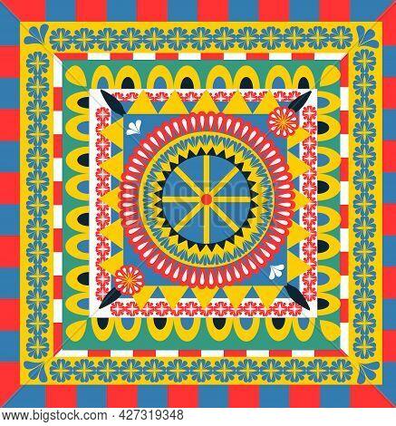 Seamless Pattern In Style Carretto Siciliano. Sicilian Repeating Texture Print, Background. Vector I