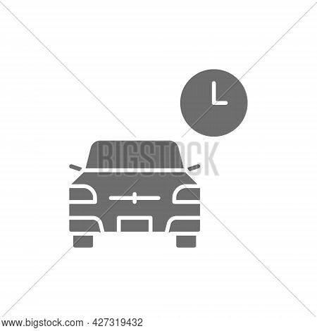 Vector Temporary Parking, Carsharing Service Grey Icon.