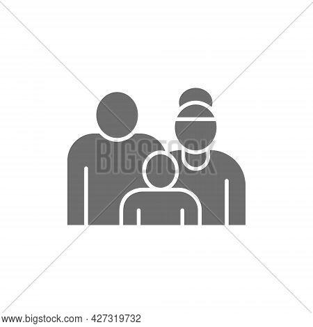 Grandparents With Grandchild, Couple Of Pensioners, Seniors Grey Icon.