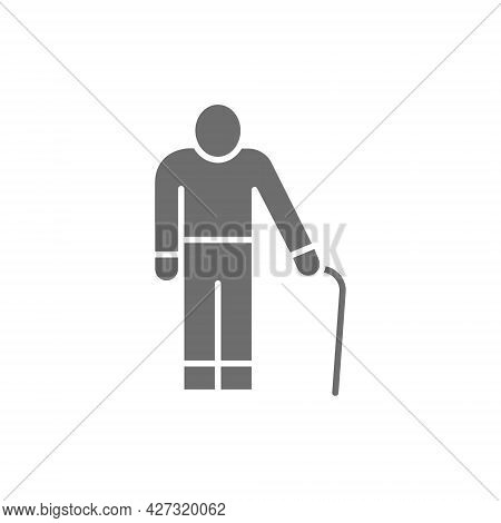 Old Man With A Cane, Grandfather, Pensioner Grey Icon.