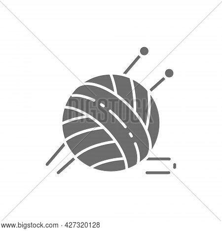 Ball Yarn With Knitting Needles Grey Icon.