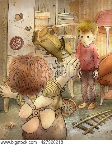 Children's Cartoon Illustration. The Tale Of Karlsson Who Lives On The Roof. Carlson And A Little Bo