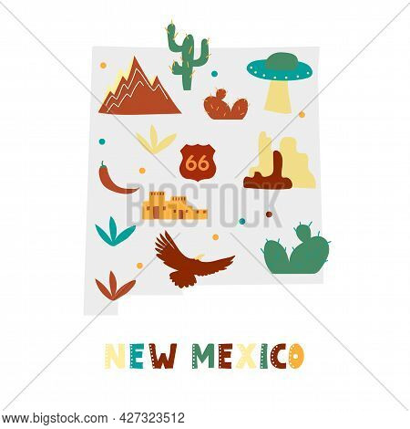 Usa Map Collection. State Symbols And Nature On Gray State Silhouette - New Mexico. Cartoon Simple S