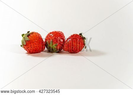Strawberries, Three Berries, Red, Scarlet, Ripe, Close-up, Horizontal, Food And Drinks, White Backgr