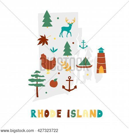 Usa Map Collection. State Symbols And Nature On Gray State Silhouette - Rhode Island. Cartoon Simple