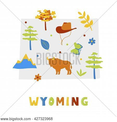 Usa Map Collection. State Symbols And Nature On Gray State Silhouette - Wyoming. Cartoon Simple Styl