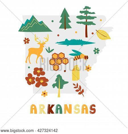 Usa Map Collection. State Symbols And Nature On Gray State Silhouette - Arkansas. Cartoon Simple Sty