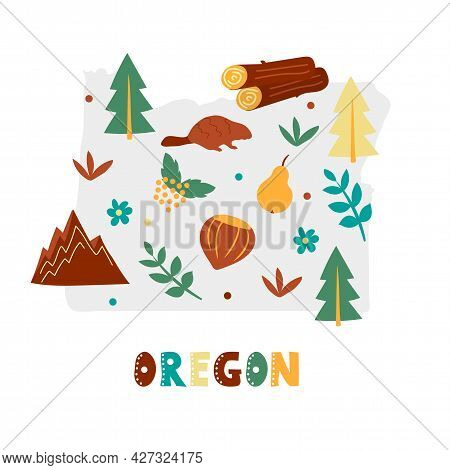Usa Map Collection. State Symbols And Nature On Gray State Silhouette - Oregon. Cartoon Simple Style