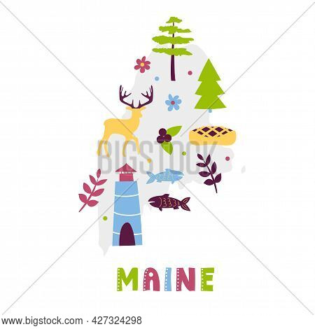 Usa Map Collection. State Symbols And Nature On Gray State Silhouette - Maine. Cartoon Simple Style