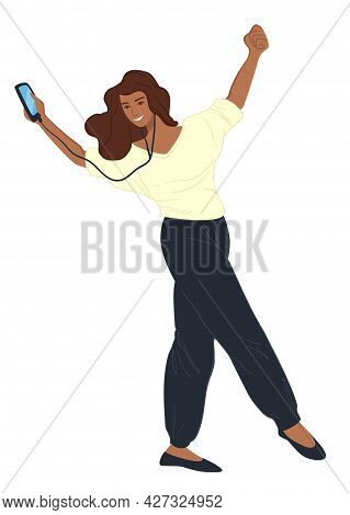 Woman With Smartphone Listening To Happy Music