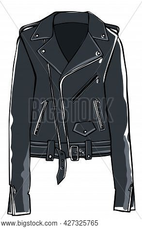 Leather Jacket With Belts And Clasps, Fashion