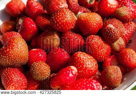 Delicious Juicy Strawberries On A White Plate. Fresh Strawberries Close Up In The Home Made Garden