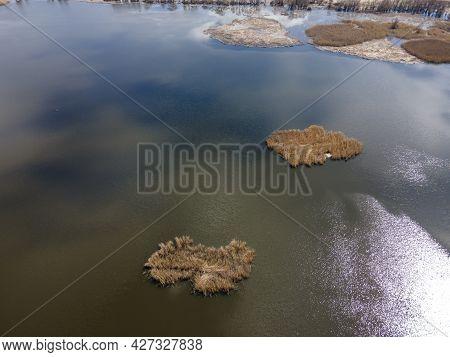 Aerial Spring View Of Choklyovo Swamp At Konyavska Mountain, Kyustendil Region, Bulgaria