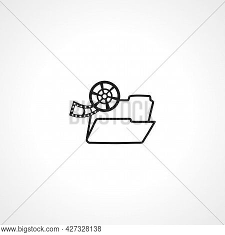 Folder With Video Files Icon. Folder With Video Files Isolated Simple Vector Icon.