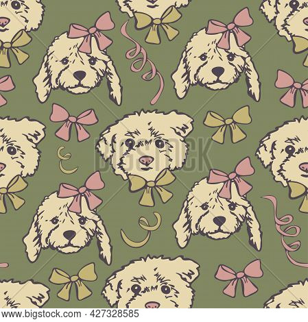 Vector Seamless Pattern With Cute Dog Faces. Dog Heads With Bow-knots And Ribbons.