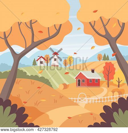 Autumn Rural Landscape With Trees, Fields, Houses And Windmill. Countryside Landscape. Vector Illust