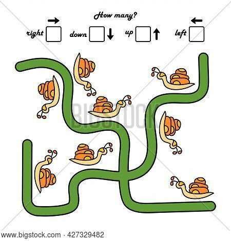 A Game For Preschool Children. Count How Many Snails Crawl To The Right And How Many To The Left. Wr