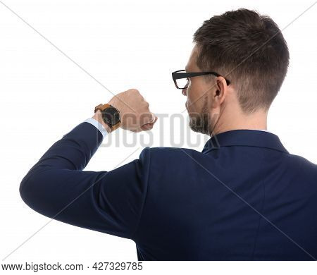 Businessman Looking At Wristwatch On White Background. Time Management