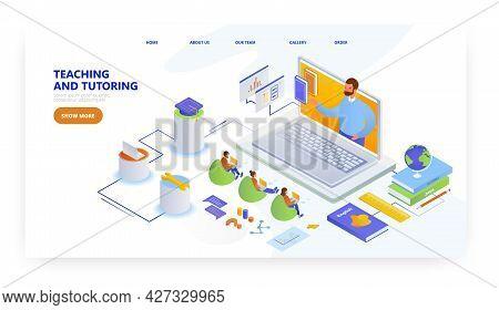 Teaching And Tutoring, Landing Page Design, Website Banner Vector Template. Webinar, Online Educatio