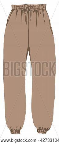 Trendy Joggers, Cargo Trousers On Fleece Vector