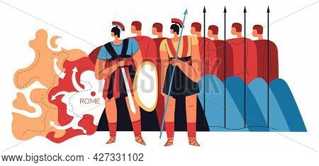 Roman Legion, Warriors With Spears And Shields