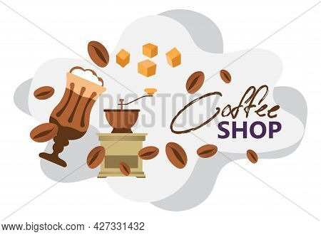 Coffee Shop Poster Or Banner With Aromatic Beans