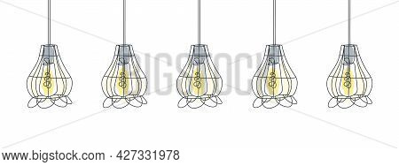 Loft Lamps Line Art Design. One Line Drawing Of Electric Light Bulbs And Lamp. Vector Illustration