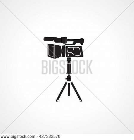 Video Camera On A Tripod Icon. Video Camera On A Tripod Isolated Simple Vector Icon.