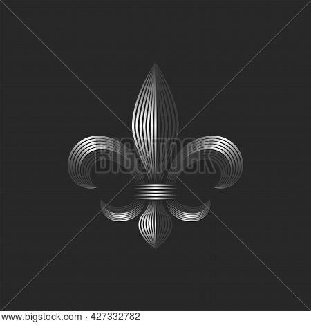 Heraldic Lily Decorative Logo, 3d Metallic Gradient Parallel Lines, Creative Design Fleur-de-lis Lin