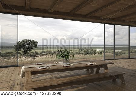 Modern Interior Design Outdoor Terrace Wooden Dining Table With Dishes. Sliding Patio Doors. Cozy Ho