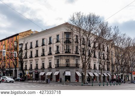Madrid, Spain - March 7, 2021: Serrano Street In Salamanca District A Cloudy Day. Loewe Fashion Stor